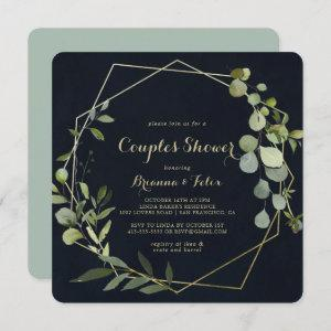 Geometric Gold Blue Green Couples Shower