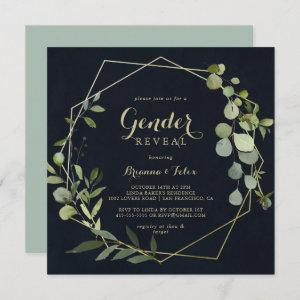 Geometric Gold Blue Green Gender Reveal Party