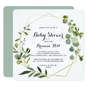 Geometric Gold Tropical Calligraphy Baby Shower Invitation