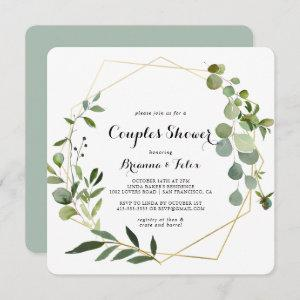 Geometric Gold Tropical Green Couples Shower Invitation