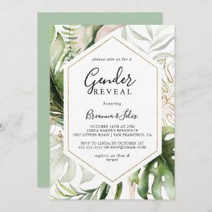 Geometric Gold Tropical Green Gender Reveal Party Invitation