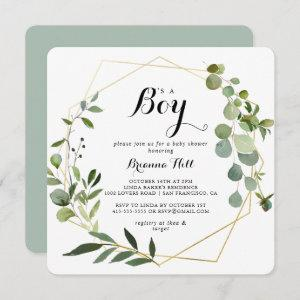 Geometric Gold Tropical It's A Boy Baby Shower Invitation