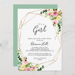 Geometric Gold Tropical It's A Girl Baby Shower Invitation