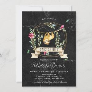Geometric Marble | Tropical Sloth Baby Shower