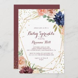 Geometric Rustic Gold Calligraphy Baby Sprinkle Invitation