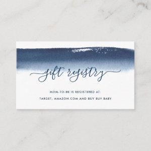 Gift Registry Boy Baby Shower Navy Blue Watercolor Enclosure Card