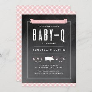 Gingham Baby BBQ co-ed shower invitation