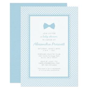 Gingham blue bow tie baby shower invitation