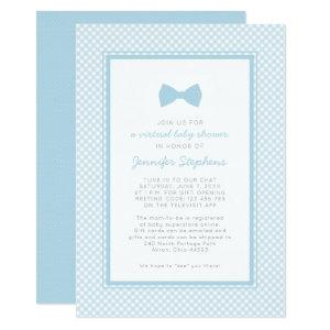 Gingham blue bow tie virtual baby shower invitation