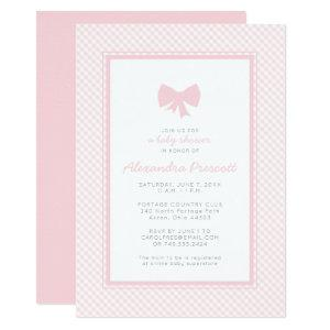 Gingham pink bow baby shower invitation