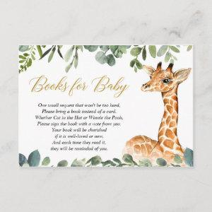 Giraffe baby shower book instead of a card