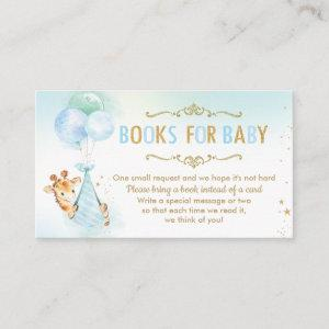 Giraffe Balloons Baby Shower Bring a Book Instead Enclosure Card