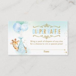 Giraffe Balloons Baby Shower Diaper Raffle Ticket Enclosure Card