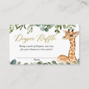 Giraffe gender neutral baby diaper raffle cards