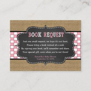 Girl Baby Q, BBQ Baby Shower book request card