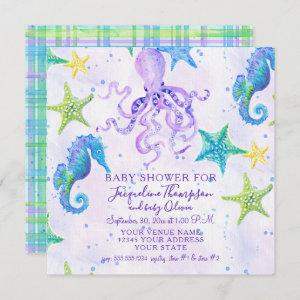 Girl Baby Shower Beach Starfish Octopus Seahorse Invitation