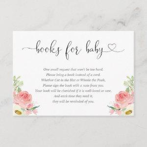 Girl baby shower book request blush pink white enclosure card