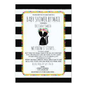 Girl Baby Shower By Mail Social Distancing Skunk Invitation