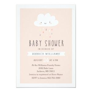 Girl Baby Shower Invitation - Cute Cloud in Pink
