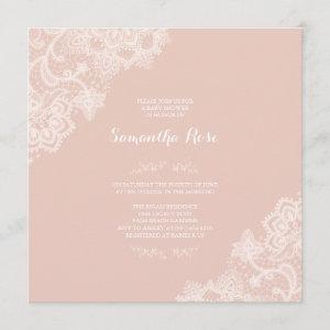 Girl Baby Shower Invitation Pink Lace