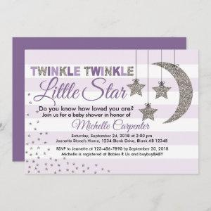 Girl baby shower invitation twinkle little star