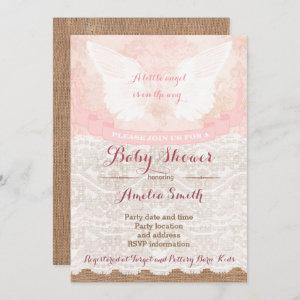girl baby shower invites, pink angel baby shower invitation