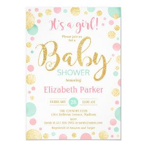 Girl Baby Shower - Pink Gold Mint Green Dots Invitation