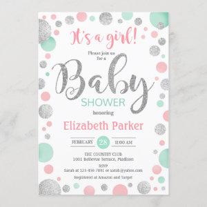 Girl Baby Shower - Pink Mint Silver Dots