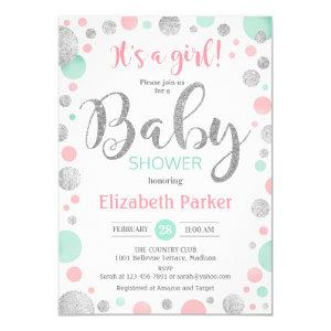 Girl Baby Shower - Pink Mint Silver Dots Invitation