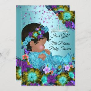 Girl Baby Shower Teal Blue Purple Floral Ethnic Invitation