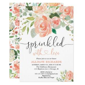 Girl baby sprinkle floral watercolors greenery invitation