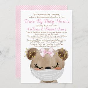Girl Bear with Mask Drive By Baby Shower Invitation