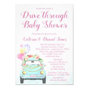 Girl Car Drive Through Baby Shower Invitation