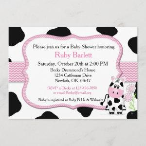 Girl Cow Baby Shower Invitation with Chevron Print