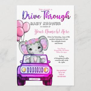 Girl Drive By Baby Shower Elephant Pink Purple Invitation