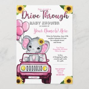 Girl Drive By Baby Shower Elephant Sunflower Invitation