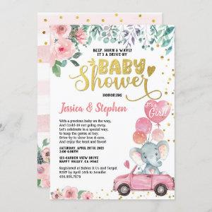 Girl Drive By Baby Shower Parade Pink Elephant Invitation