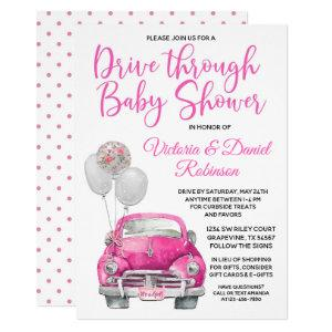 Girl Drive Through Baby Shower Car Invitation