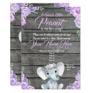 Girl Elephant Baby Shower Invitation rustic purple