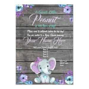 Girl Elephant Baby Shower Invitation, rustic, teal Invitation