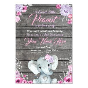 Girl Elephant Baby Shower, rustic, pink purple Invitation