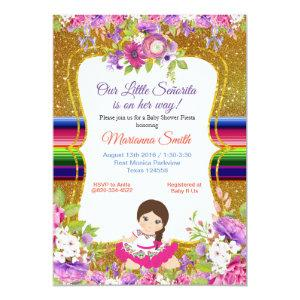 Girl Fiesta Baby shower invitation Floral Senorita