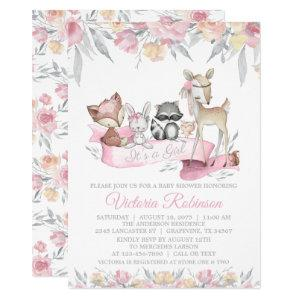 Girl Forest Woodland Animals Floral Baby Shower Invitation