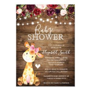Girl Giraffe Baby Shower Rustic Wood Floral Invitation