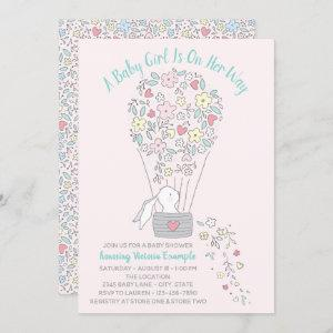 Girl Hot Air Balloon Bunny Baby Shower Invitations