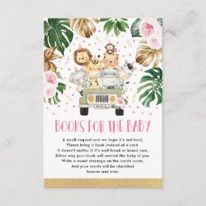 Girl Jungle Animals Drive By Shower Books for Baby Enclosure Card