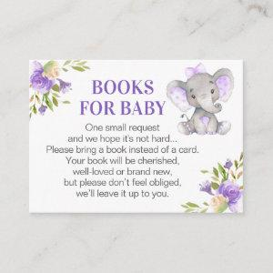 Girl Lavender Elephant Books for Baby Book Request Enclosure Card