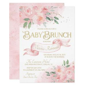 Girl Pink Gold Watercolor Rose Baby Brunch Invitation
