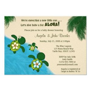 GIRL Sea TURTLE Baby Shower Invite YEL (Honu) 03B2