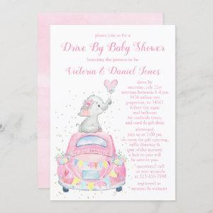 Girl Watercolor Elephant Car Drive By Baby Shower Invitation